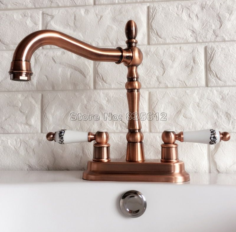 Red Copper 360 Swivel Spout Kitchen & Bathroom Faucet Dual Ceramic Handle Cold and Hot Water Mixer Tap Wash Basin Faucets Wrg051 #Affiliate