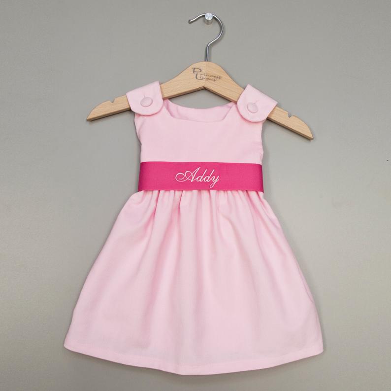Sweet Pink Monogram Sash Dress