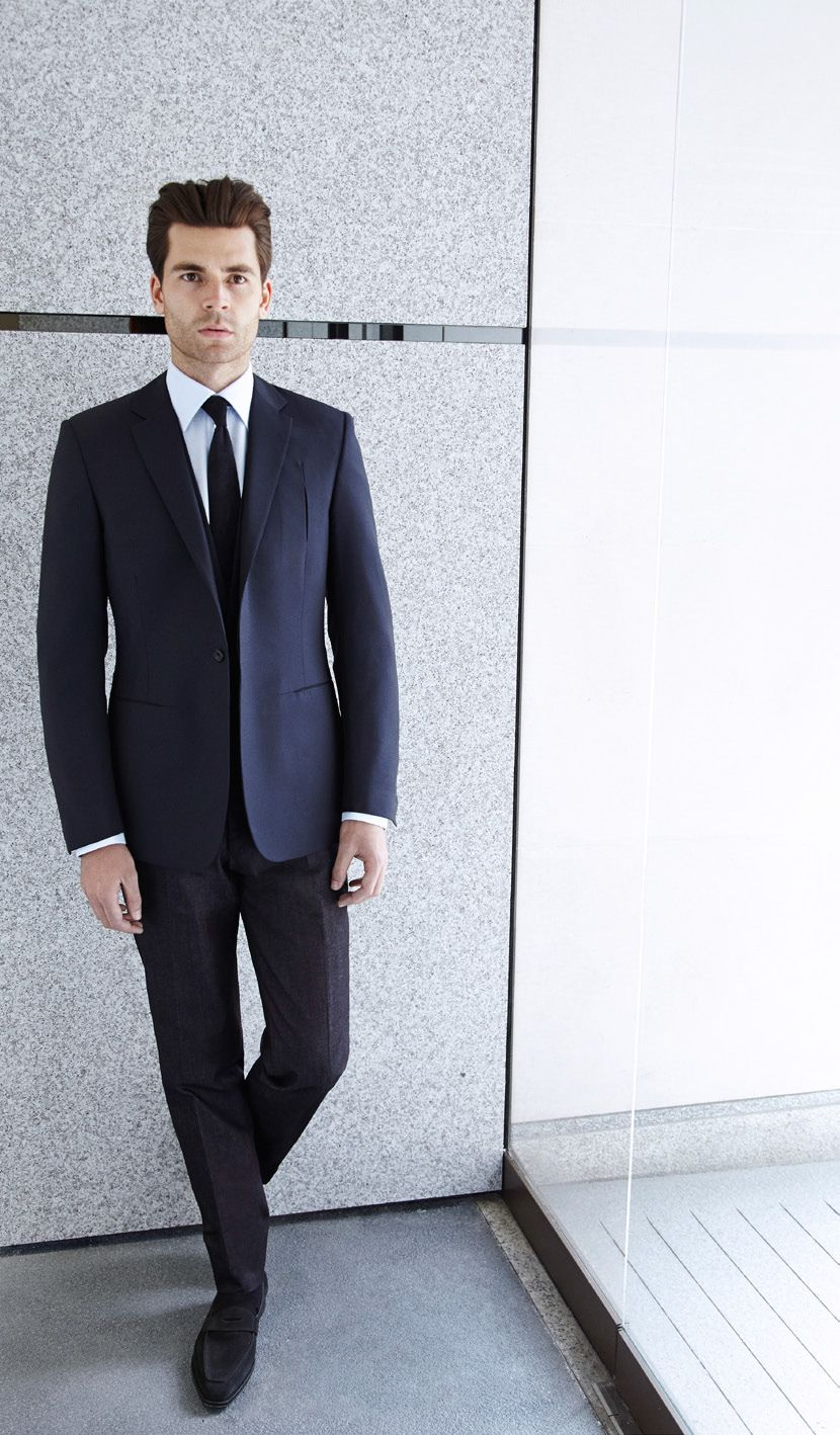 Kilgour, savile row, Clear cut incision detail suit in wool with Alcantara  suede trim