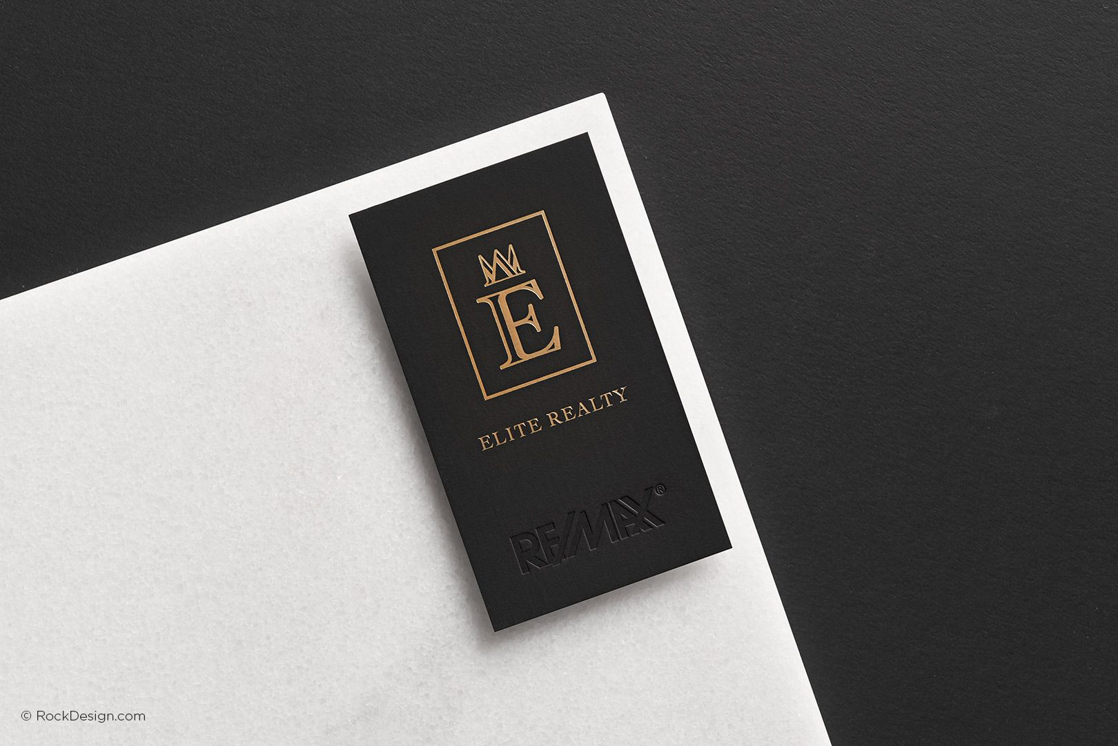 Luxury professional real estate suede duplex business card with gold ...