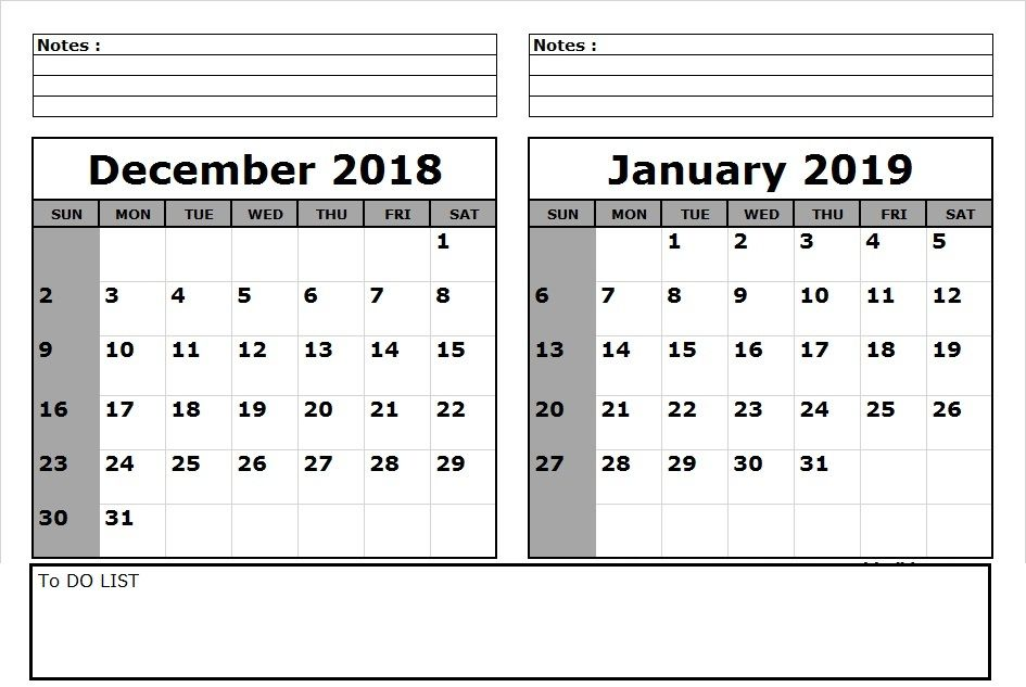December 2019 To January 2019 Calendar Printable Calendar December 2018 January 2019 Printable