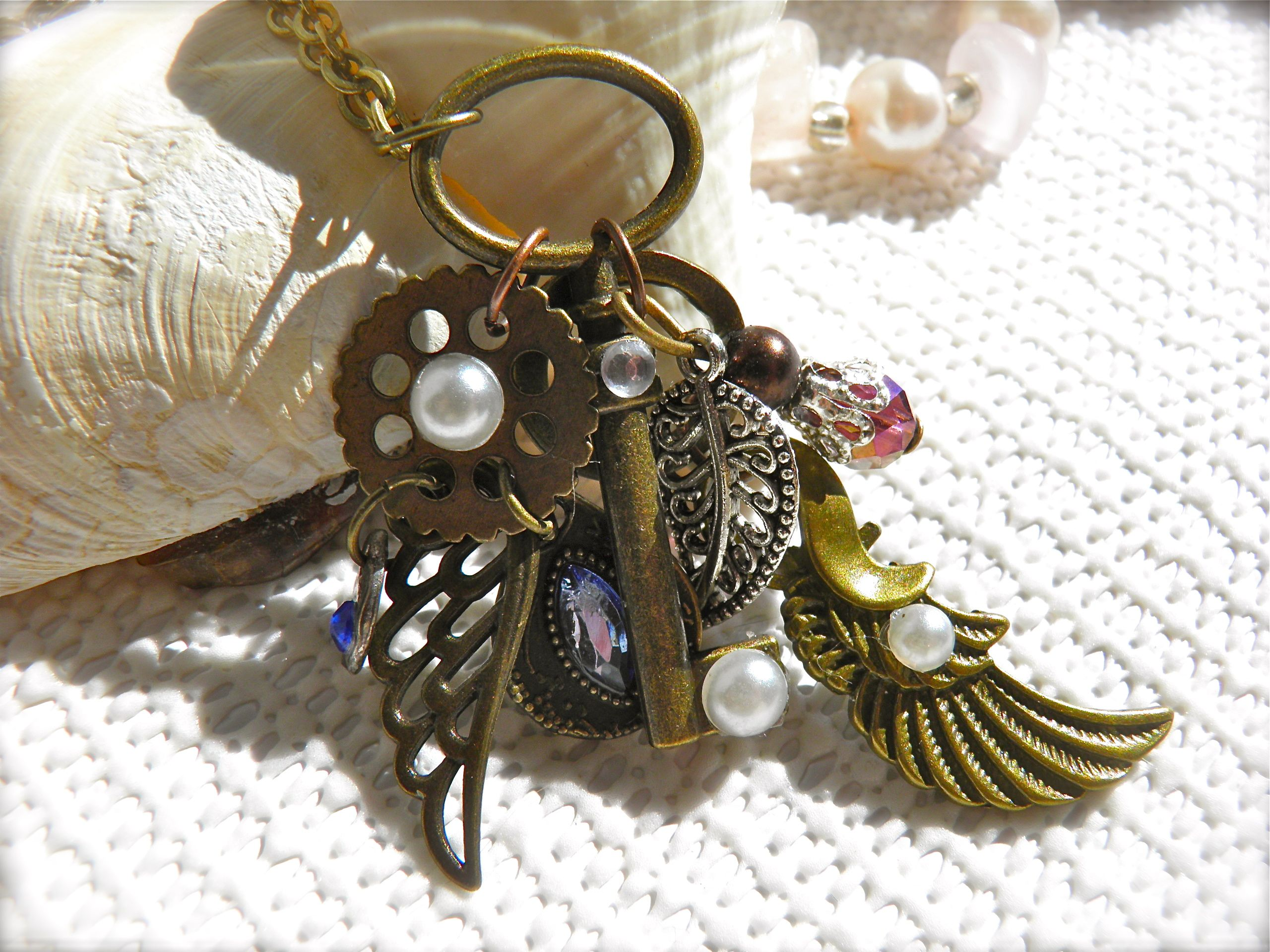 Jewelry Necklace. Bronze Skeleton Key Angel Wings Steampunk Pendant. Jewelry Cosplay Costumes Accessories. https://www.etsy.com/ca/listing/469798876 #Steampunk #Etsy #Gift #SkeletonKey #SteampunkJewelry