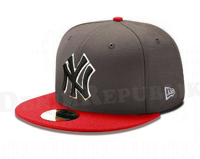 c87aac5e196 Era 5950 York Yankees Mlb Baseball Cap Graphite Ny Fitted Hat Gray Red