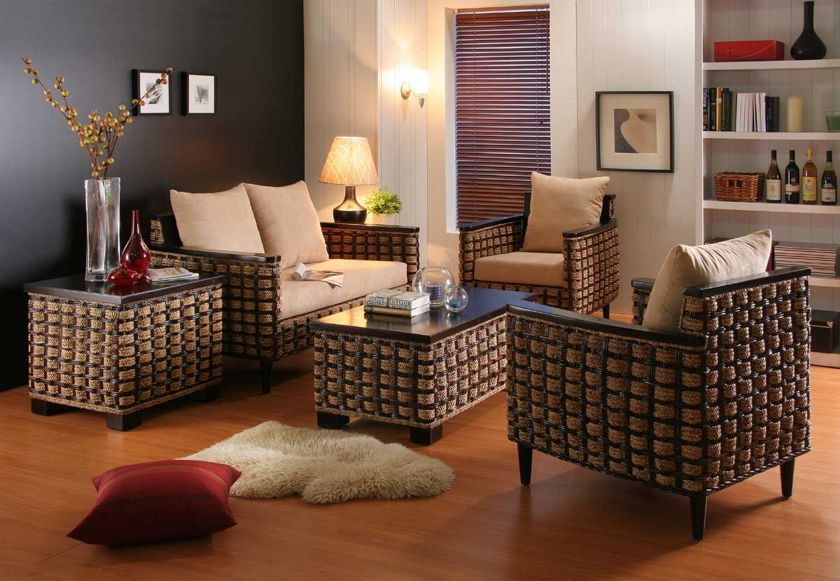 Furniture, Waste Material Living Room Furniture Ideas With Rattan ...