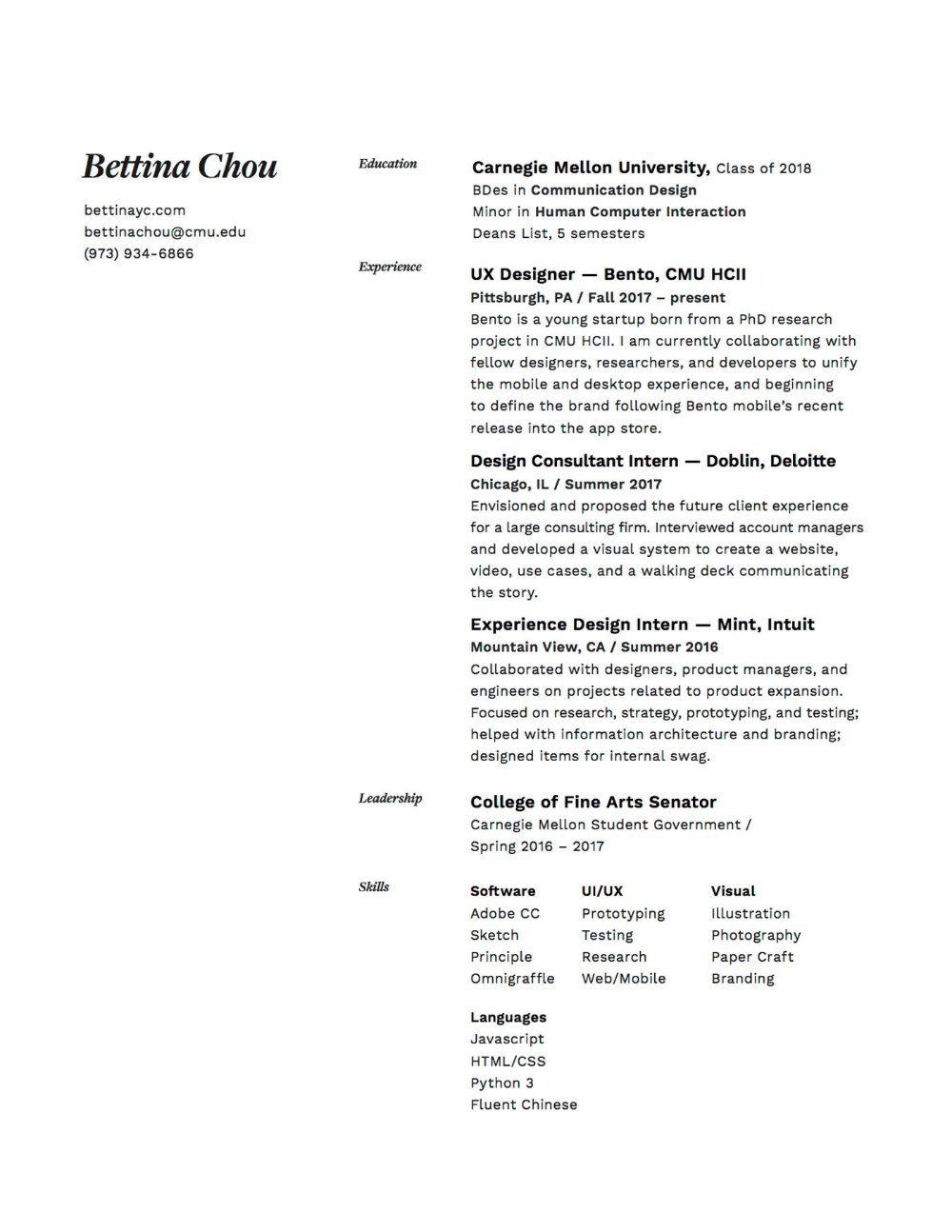Bestfolios Bettina Chou Graphic Design Resume Resume Design Graphic Design Cv