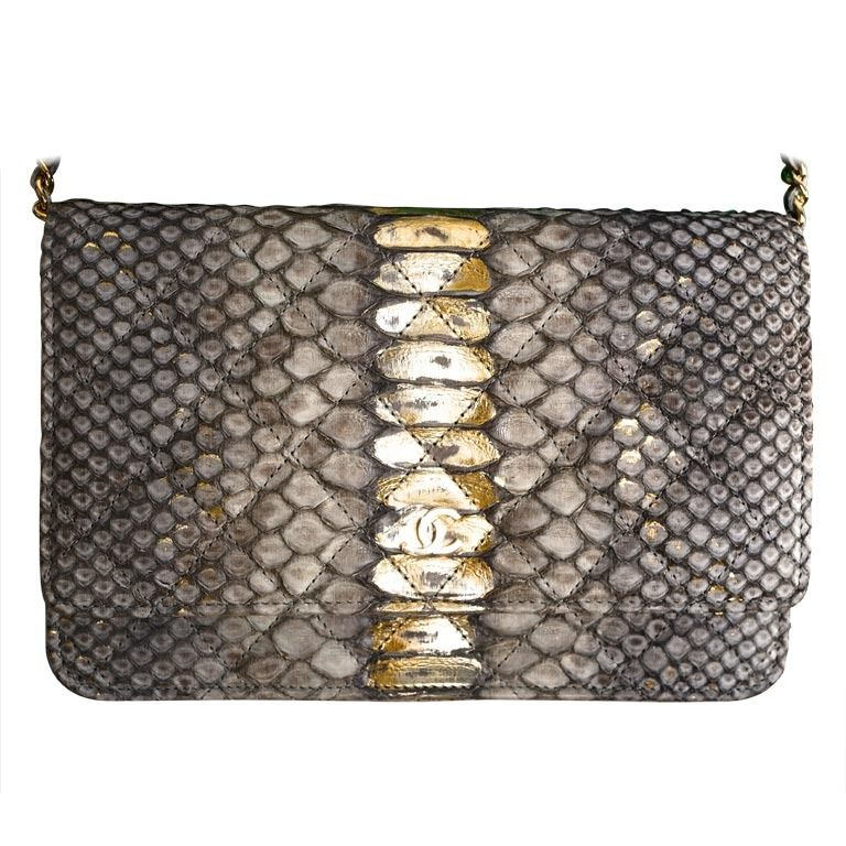 eff683287ec496 Chanel Lame Python Wallet On A Chain Super Rare Piece! | From a collection  of