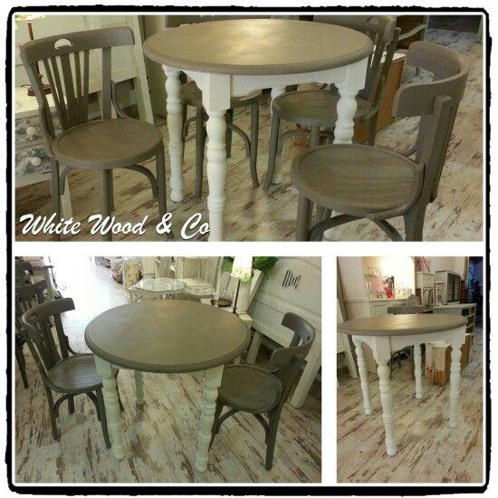 Conjunto de mesa y cuatro sillas en french linen y old white chalk ...