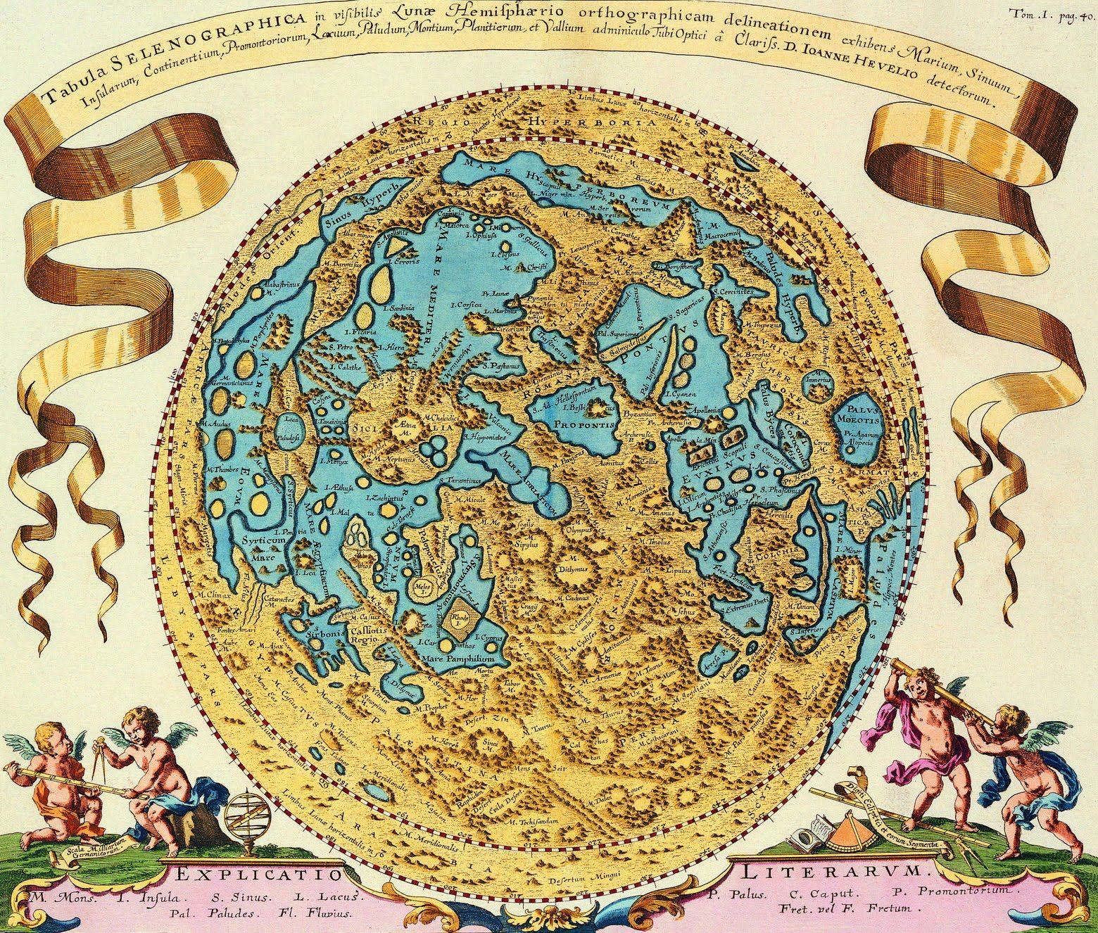 """""""Tabula Selenographica"""", map of the Moon, 1647 by D.Ioanne Hevelio."""
