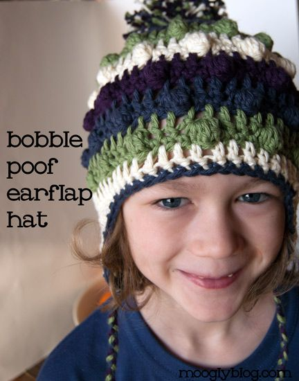 Bobble Poof Crochet Earflap Hat - free pattern for both kid\'s and ...