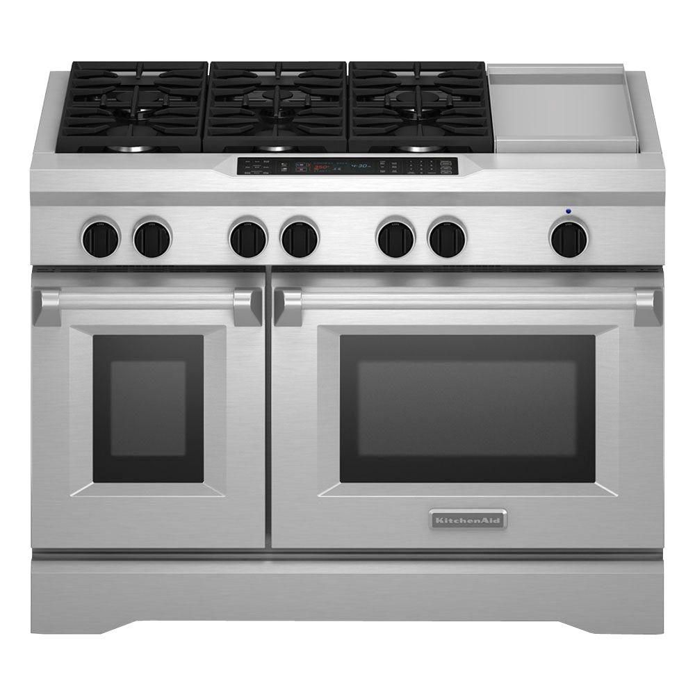 KitchenAid Commercial Style 48 In. 6.3 Cu. Ft. Slide In Double Oven Dual  Fuel Range, Self Cleaning Convection Oven In Stainless, Silver | KitchenAid,  ...