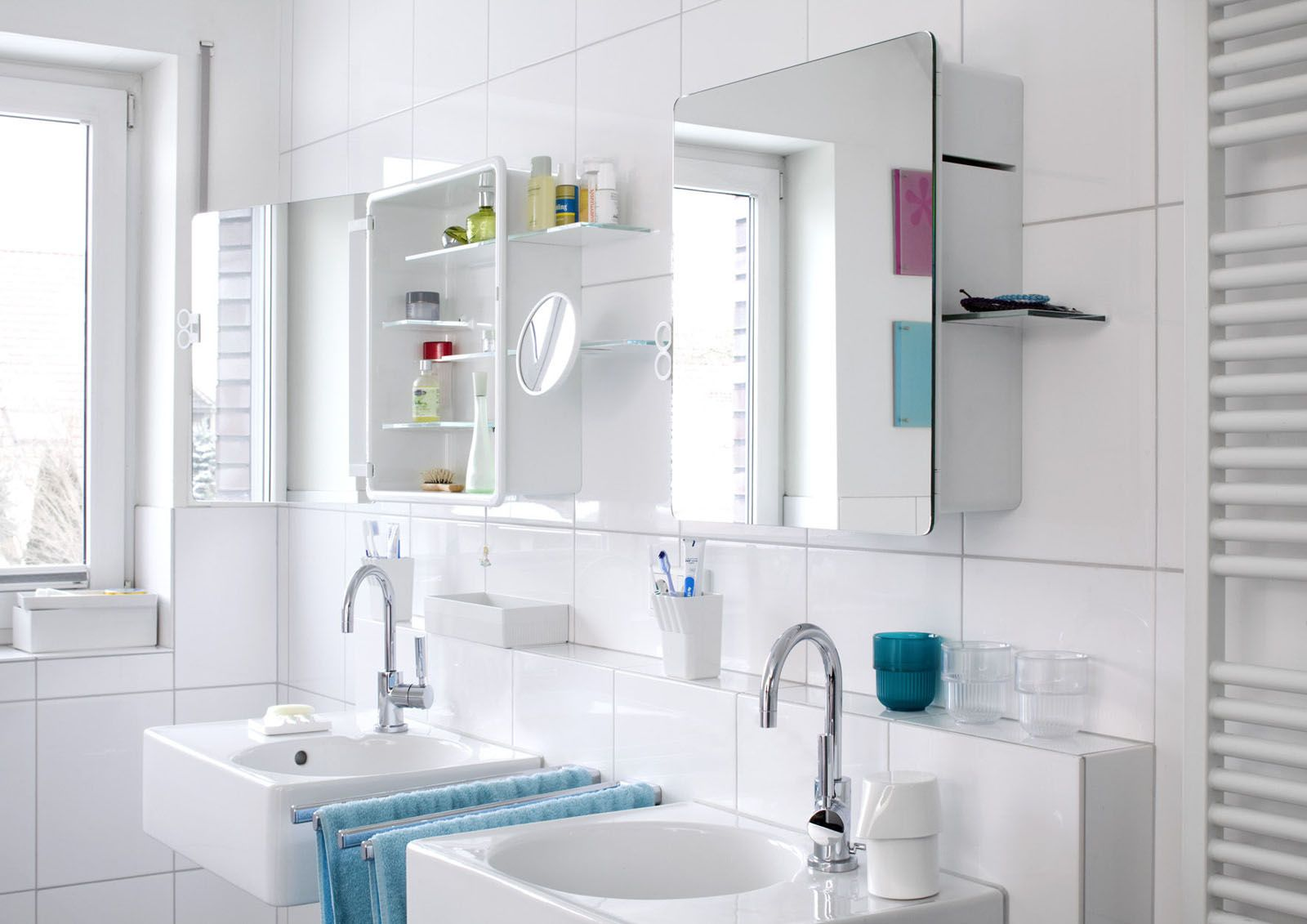 Bathroom: Two Small Bathroom Mirror Cabinet With Illuminated Lights ...
