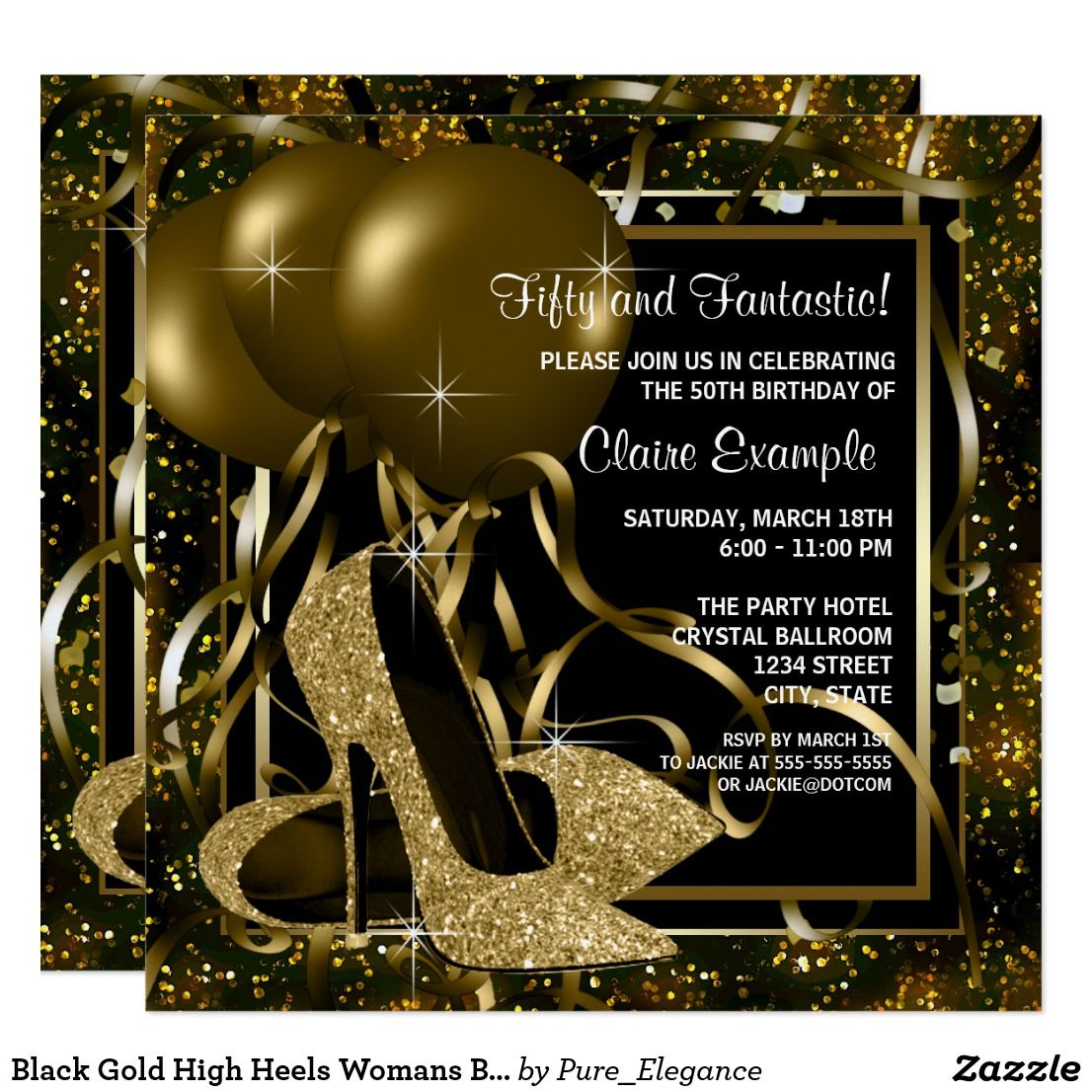 Black gold high heels womans birthday party card birthday black gold high heels womans birthday party card filmwisefo Images