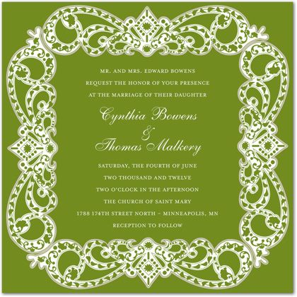 Elegant Victorian Frame Green Formal Party Invitations
