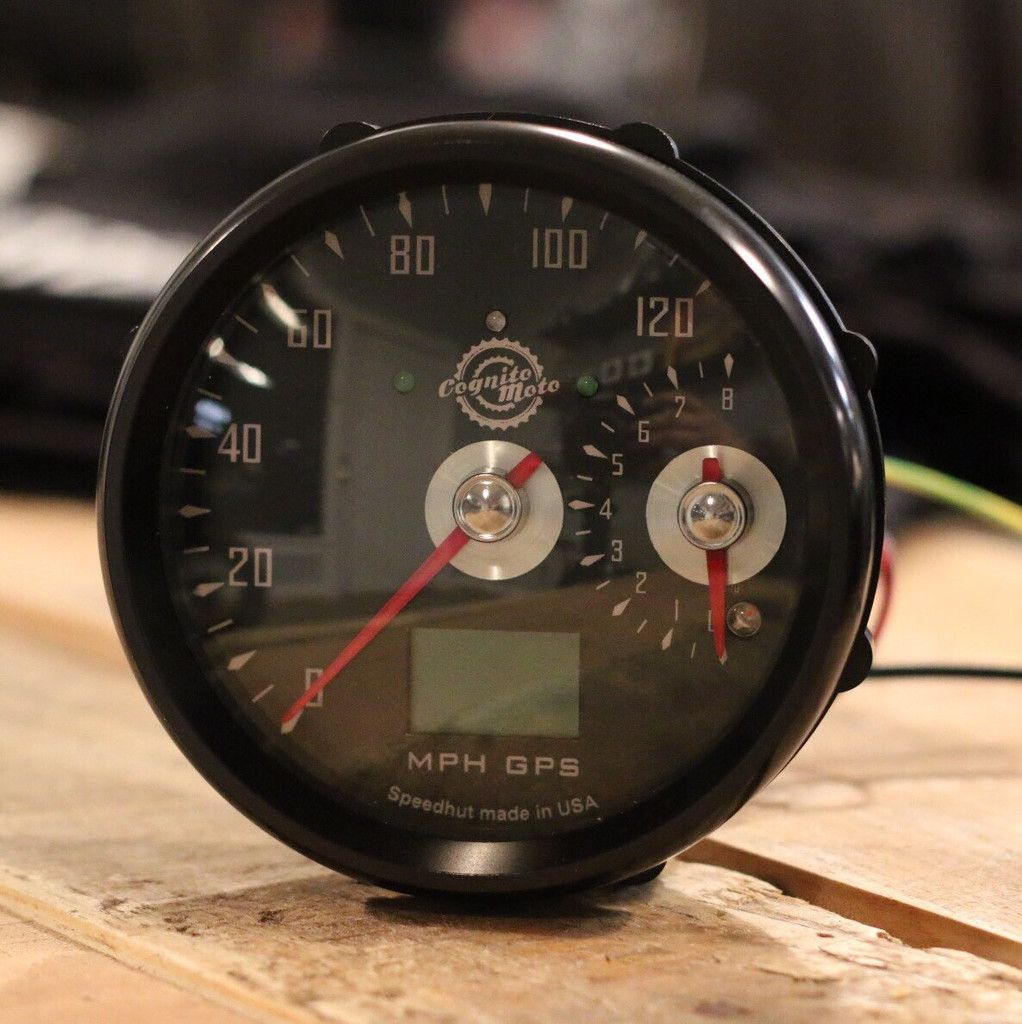 GPS Speedo and small Tach Cafes, BMW and Bobbers