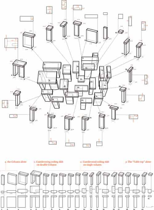 Column diagram of Peter Zumthor's Vals Thermal Baths by