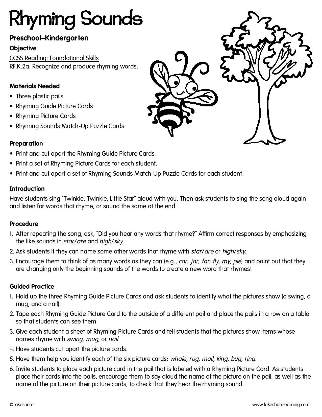 Rhyming Sounds Lessonplan Teacher Lesson Plans Foundational Skills Rhyming Pictures [ 1650 x 1275 Pixel ]