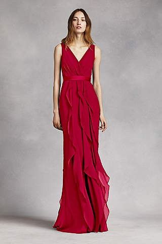 Abiti Da Sera Vera Wang.Apple Red V Neck Wrapped Bodice Dress With Satin Belt By White By