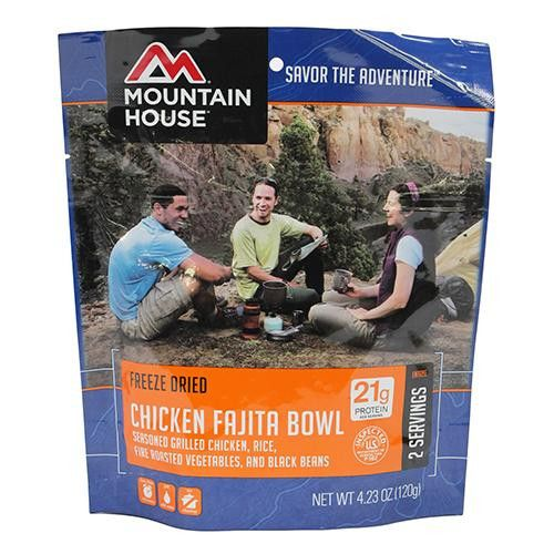 Entrees - Chicken Fajita Bowl. Entrees - Chicken Fajita BowlManufacture ID: 0053172Wish you could take your favorite Tex-Mex cuisine with you on your next excursion? Now you can with Mountain House's Chicken Fajita Bowl! Made with real pieces of tender, cooked chicken, each pouch serves up two delicious servings of goodness with just the right amount of spice. Rice, black beans, bell peppers, corn, onions and seasonings blend together to make this meal all the more...