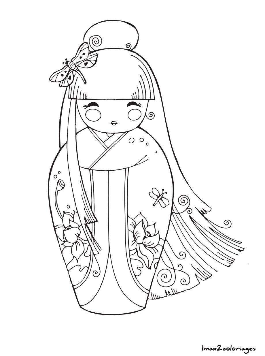 coloriage poupee japonaise numero 6 | Dessins Poupées Japonnaises ...