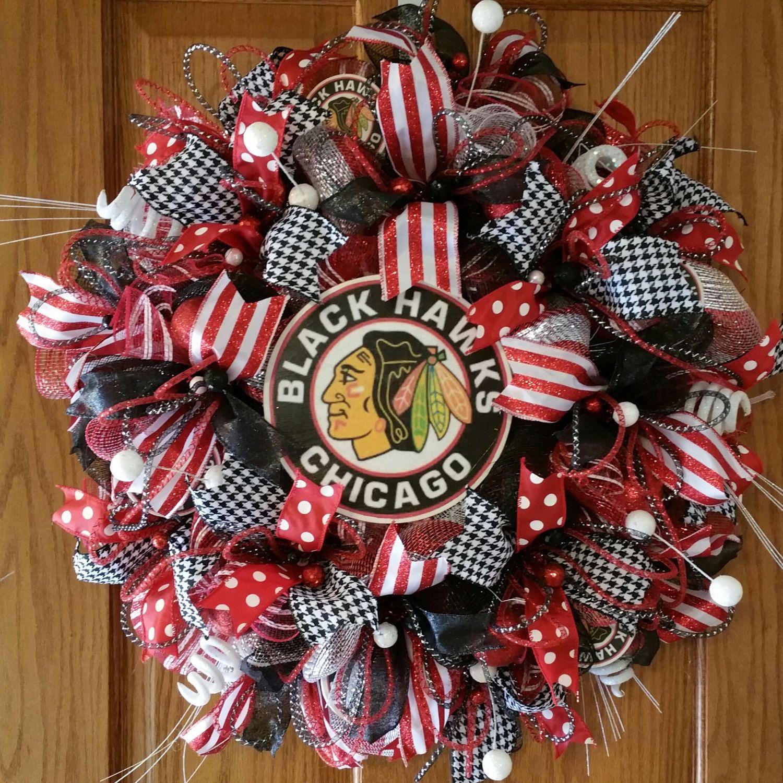 Chicago Blackhawks deco mesh wreath wall decor 25