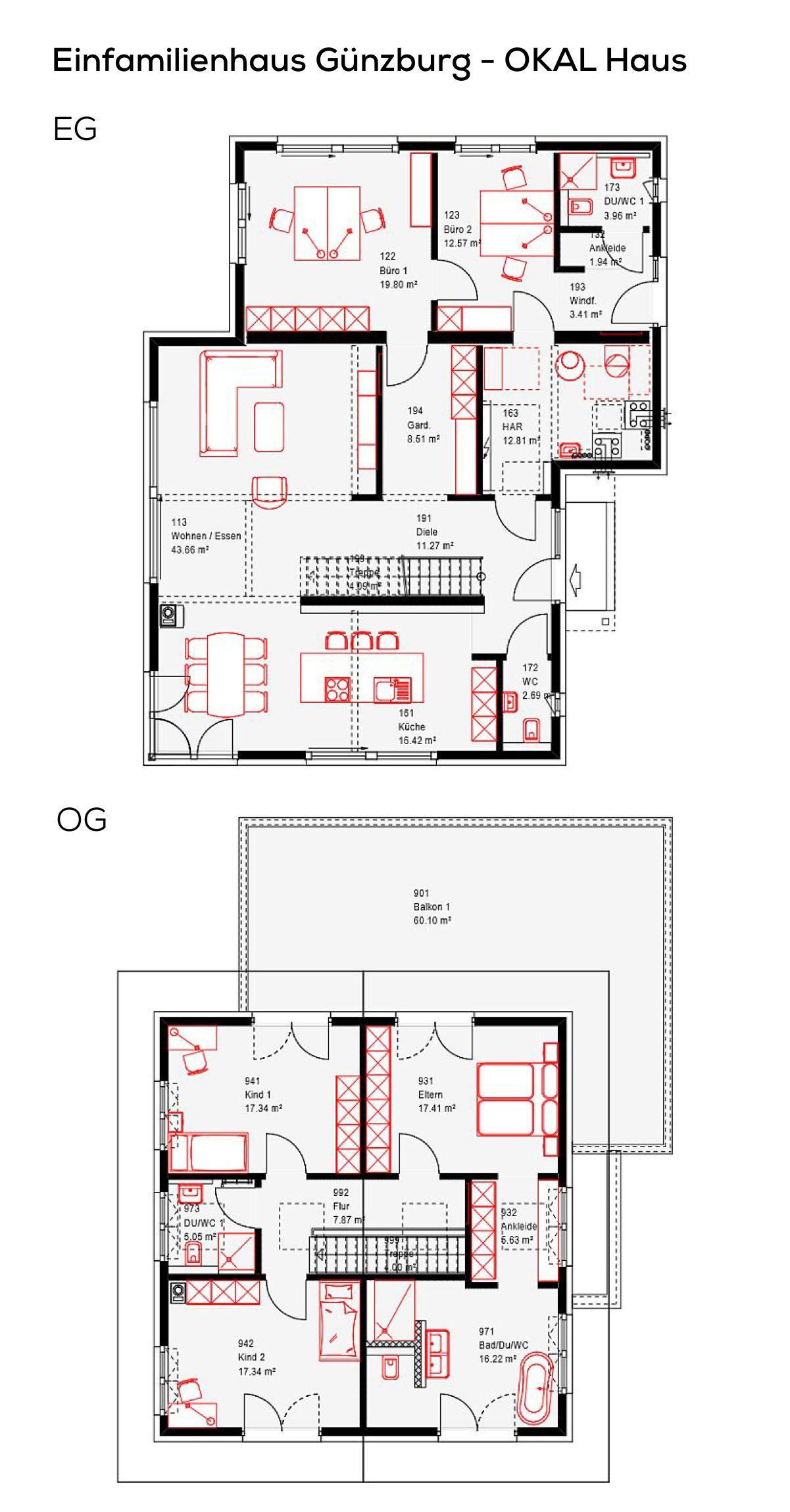 Grundriss Einfamilienhaus mit Büro Anbau