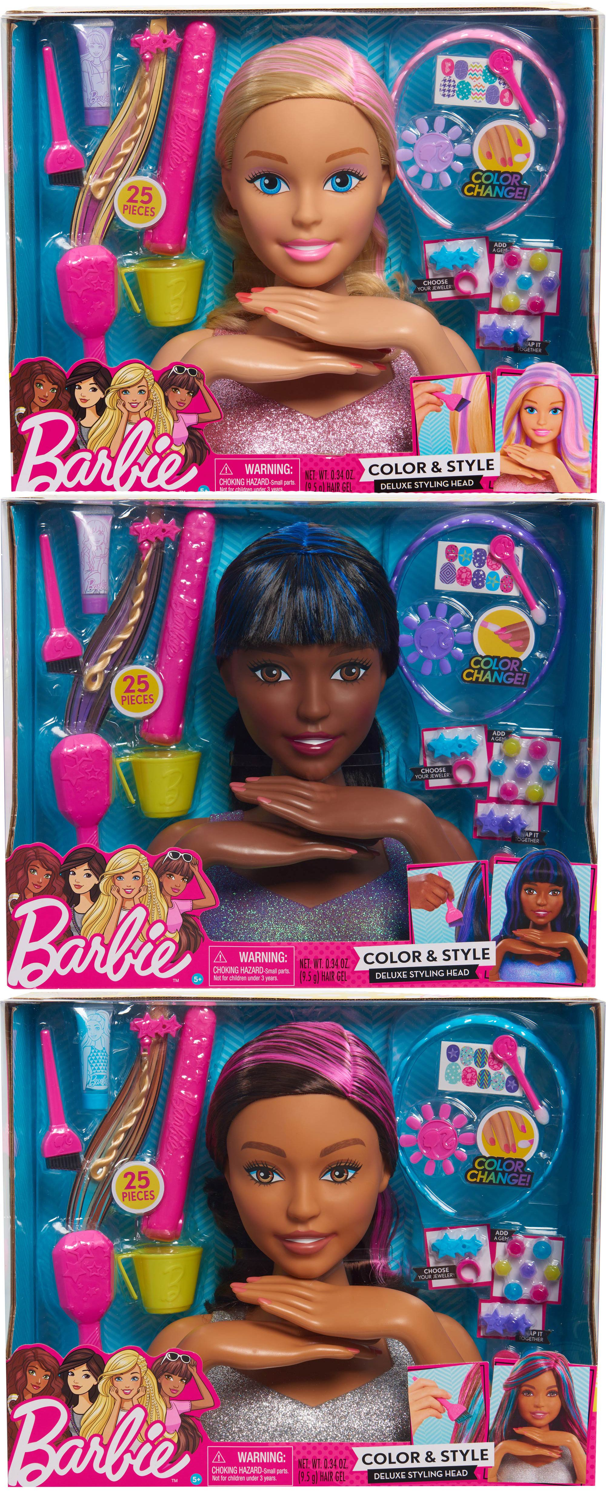 The Barbie Color And Style Deluxe Styling Head From Just Play Has Everything Your Little One Needs To Unleash Her Inner Stylist Barbie Play Barbie Baby Toys