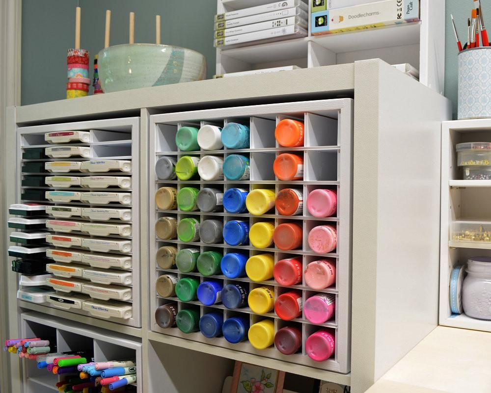 Storage Solutions For Craft Rooms: Craft Paint Organizer (for IKEA) In 2019