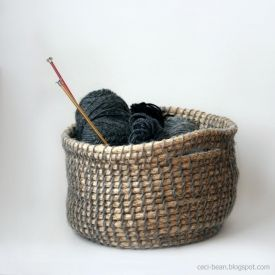 """Make an easy yarn and rope basket to match your decor, using a """"tool"""" you probably have at home."""