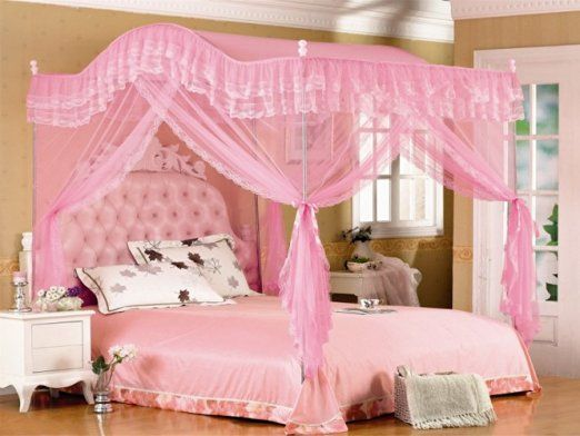Pink Arched Four Corner Square Princess Bed Canopy Mosquito Netting Twin Xl