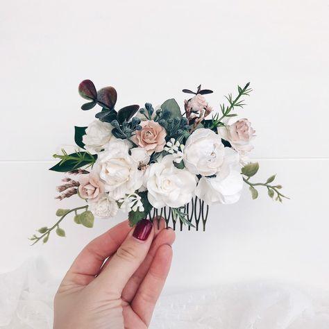 Wedding Flower Hair comb White Flower hair comb  Flower hair comb wedding Wedding hair piece Bridesmaids #flower #wedding #white