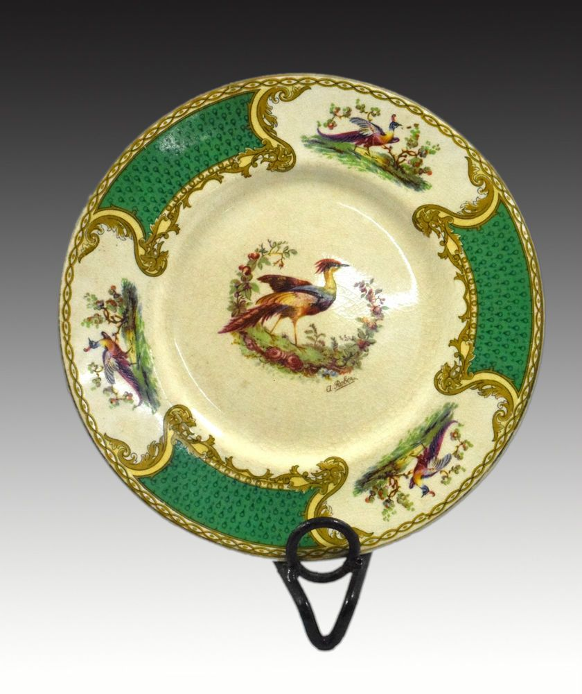Royal Myotts Crown Staffordshire England Green Chelsea Bird Plate ...