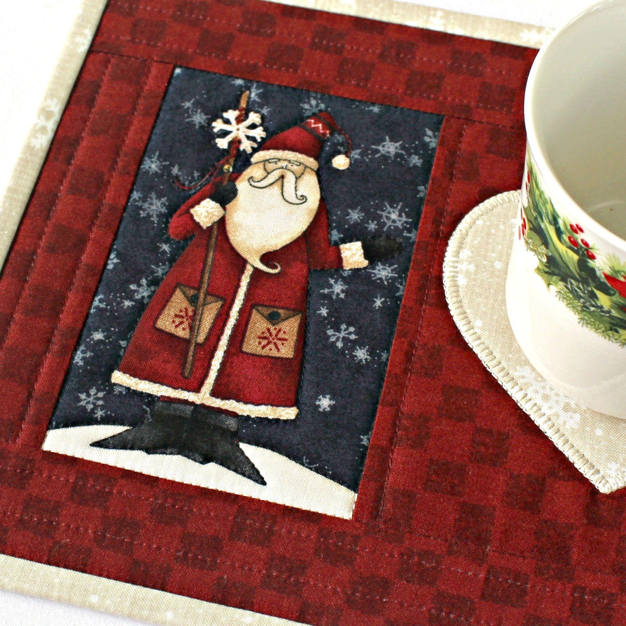 Quilted Christmas Mug Rug Santa Snack Mat Etsy in 2020