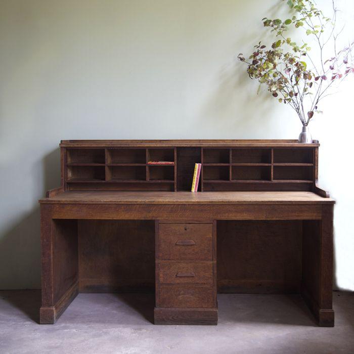 Bureau Double En Chene Vintage Trucs Vintage Mobilier De Salon Et Mobilier