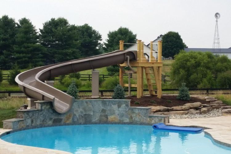 Backyard Pool Designs With Slides Diving Board Housely 20 Backyard Swimming Pool Ideas With Wate Pool Water Slide Swimming Pools Backyard Water Slides Backyard