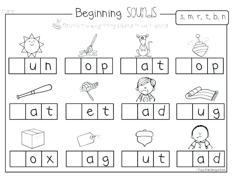 Initial sound Worksheets for Kindergarten Beginning sounds