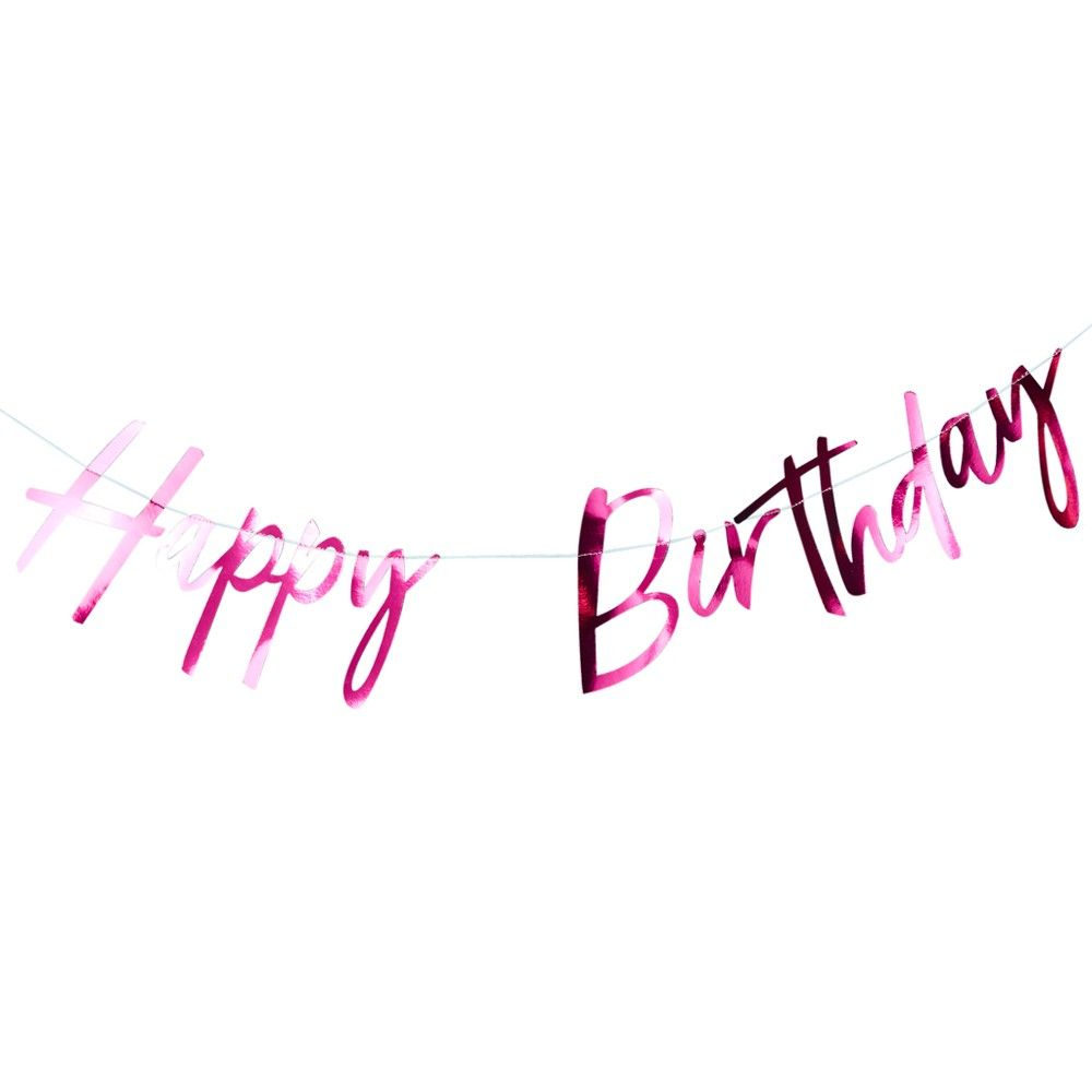 ginger ray pink foiled happy birthday bunting good vibes pink