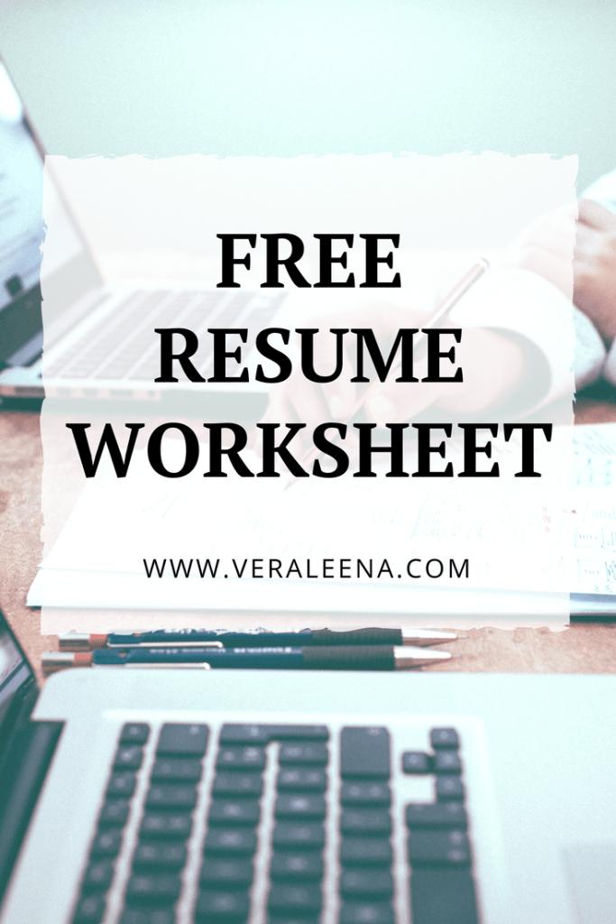 resume worksheet career freeprintable printable resumetips
