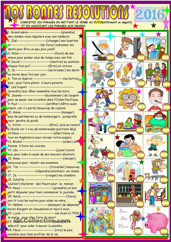 Nos bonnes résolutions   GRATUIT FLE fiches pédagogiques