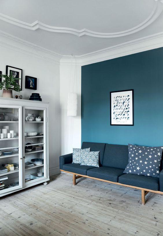 Muur kleuren  Woonkamer inspiratie  Muur kleuren Blauwe