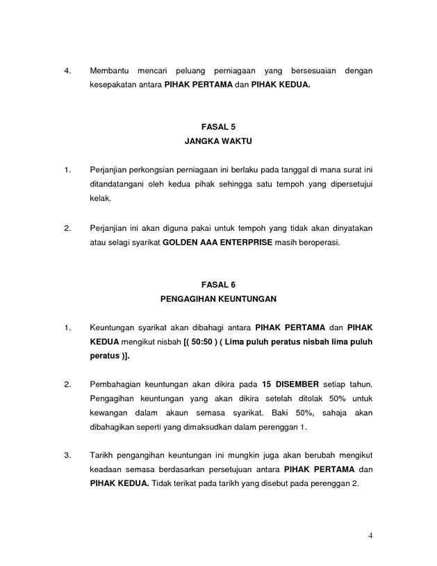 Contoh Surat Perjanjian Perkongsian Perniagaan Pdf Free Download