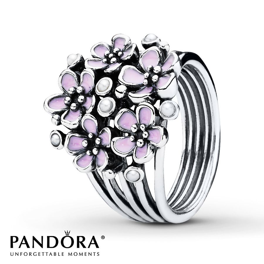 Pink Rings Silver Jared Pandora Ring Pink Enamel Sterling Silver Cherry Blossom Ring Pink Ring Cherry Blossom Bouquet
