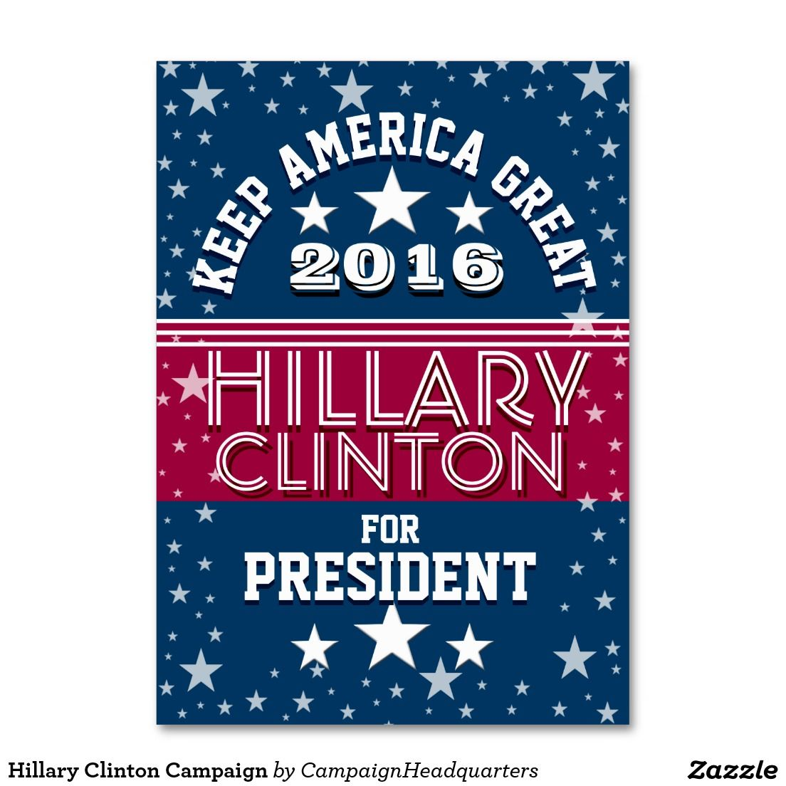 Hillary Clinton Campaign Large Business Card | Campaign Headquarters ...
