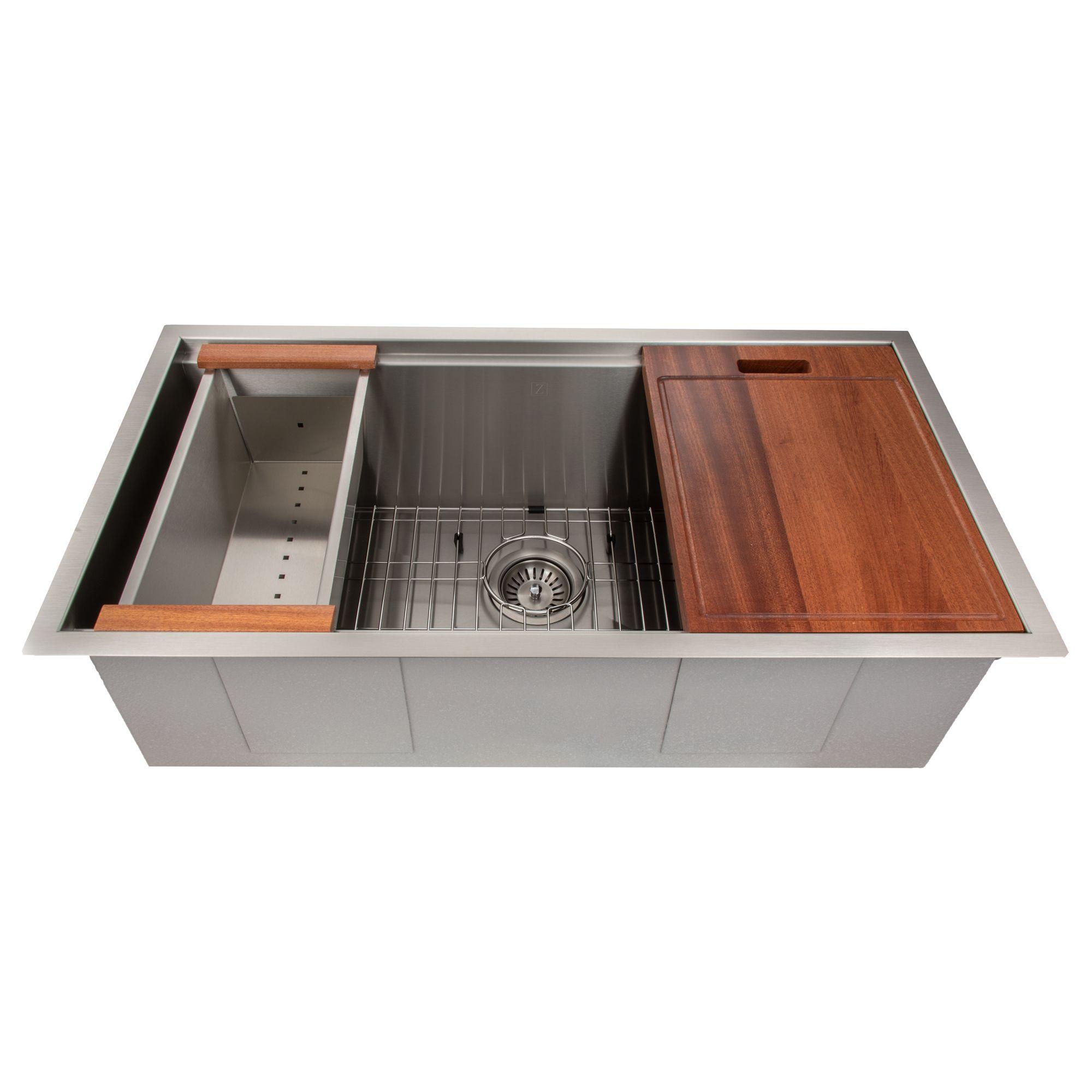 Zline Designer Series 33 Inch Undermount Single Bowl Ledge Sink In Stainless Undermount Kitchen Sinks Single Bowl Kitchen Sink Undermount Stainless Steel Sink