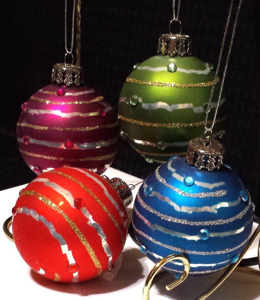 4 Glass 2 5 Ball Christmas Tree Ornaments 4 Colors W Glitter Gem Accents Christmas Tree Ornaments Ornaments Tree Ornaments