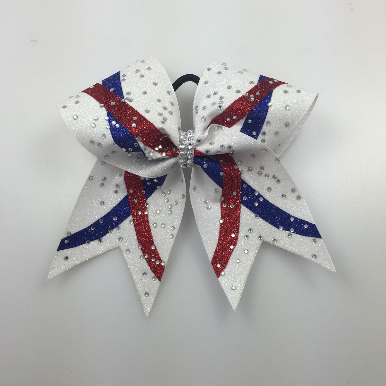 Cheer Bow: Scorpion Red White and Blue Swoosh Custom Glitter and ...