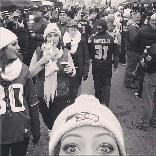 Seattle Seahawks fan Sydney Leroux (foreground) at the NFC Championship. (Instagram) | Sydney ...