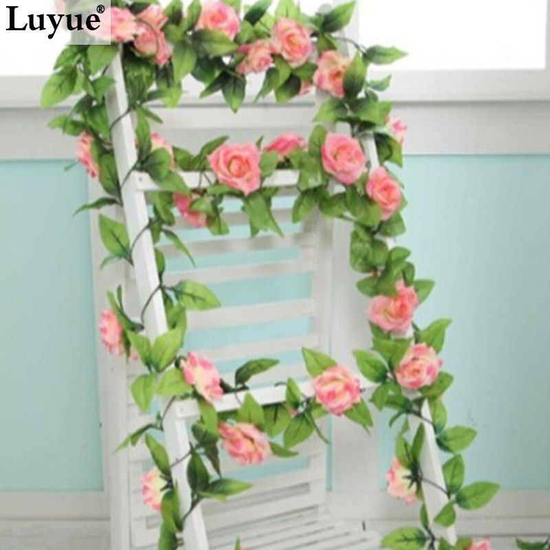 Wedding Decorations Artificial Fake Silk Rose Flower Ivy Vine Hanging Garland Wedding Home Decor 30 Styles