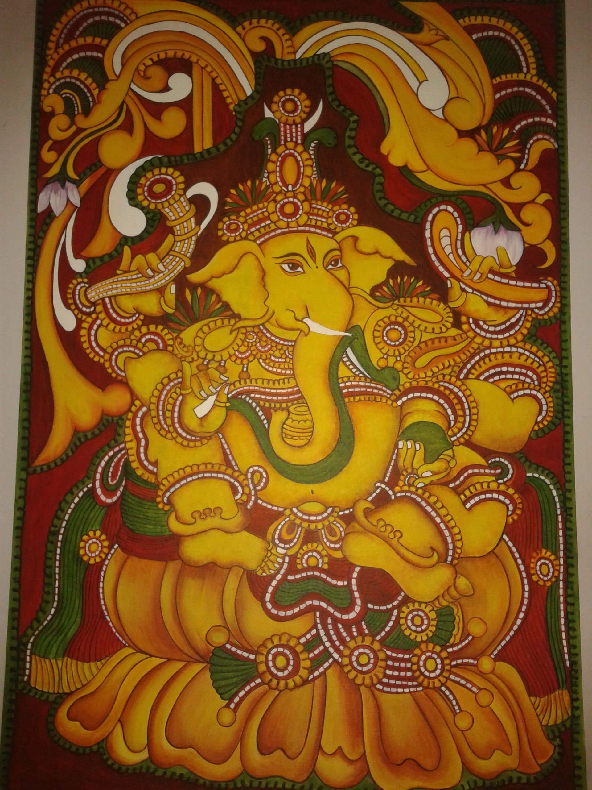 Pin by rajni art gallery on ganesha paintings pinterest for Mural art of ganesha