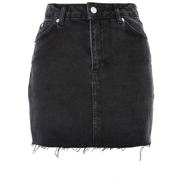 c9b4a79b77 Women's Topshop Frayed Hem Denim Miniskirt ($55) ❤ liked on Polyvore  featuring skirts, mini skirts, washed black, ripped skirt, topshop skirts,  ...