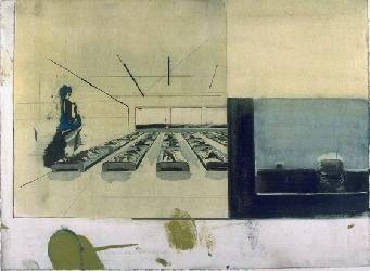 NEO RAUCH: NR. V  aus der Serie Marineschule . 1995 . Öl auf Papier . 78 x 106 cm  Standort: Hauptgebäude der VNG, Braunstraße 7, Leipzig, III. Etage